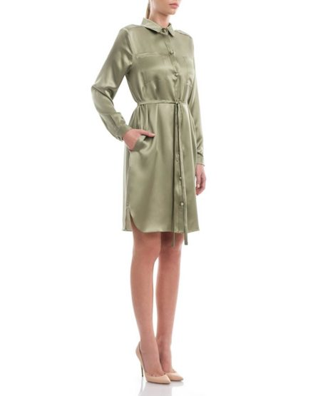 Army-green-silksatin-shirt-dress1