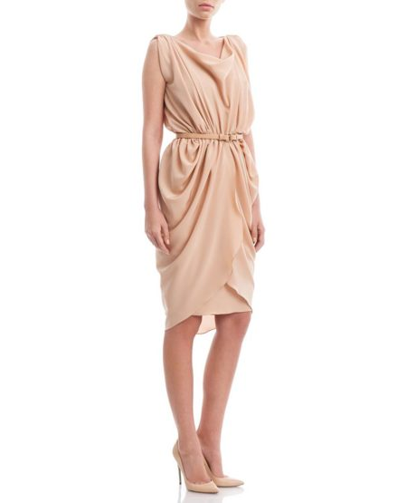 Peach-beige-silkcrepe-draped-dress1