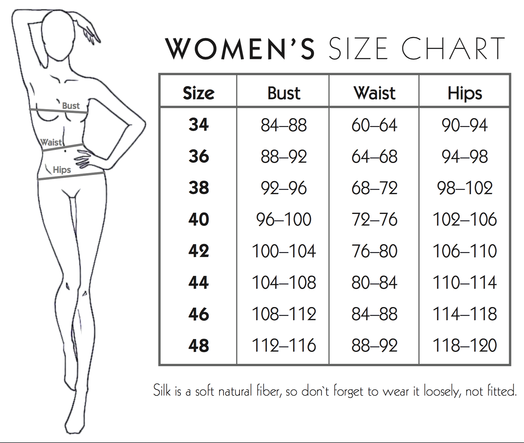 Silk Essentials Laura Hincu Size Chart