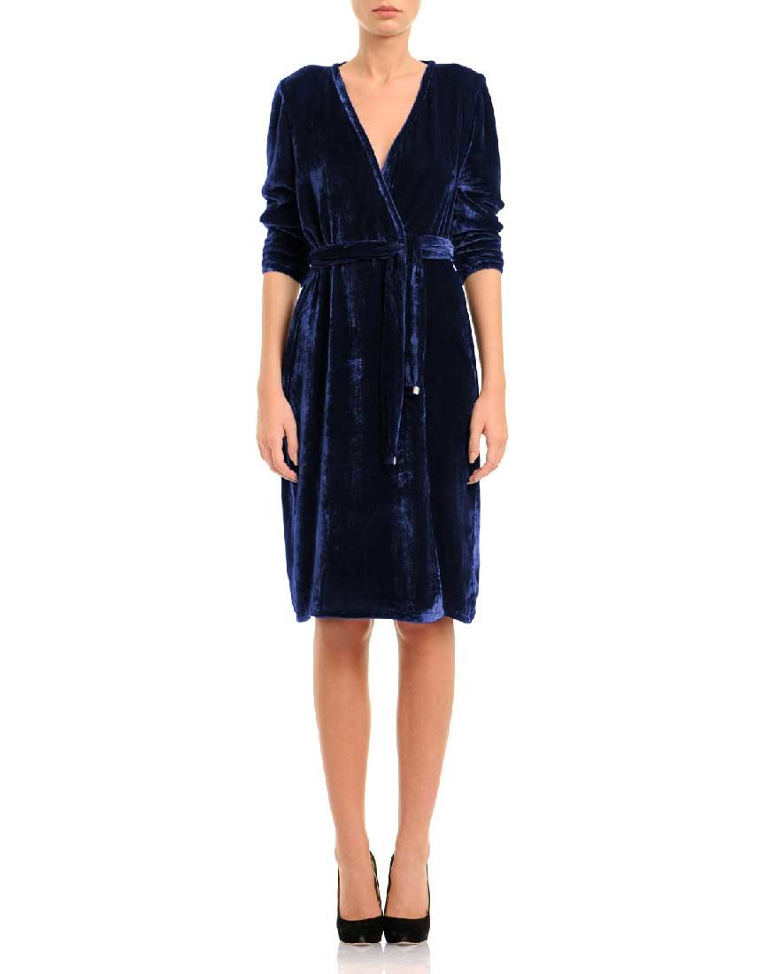 navy blue silk velvet wrap dress laura hincu shop. Black Bedroom Furniture Sets. Home Design Ideas